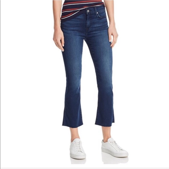 7 For All Mankind Denim - 7 For All Mankind B(air) Raw Hem Cropped Jeans